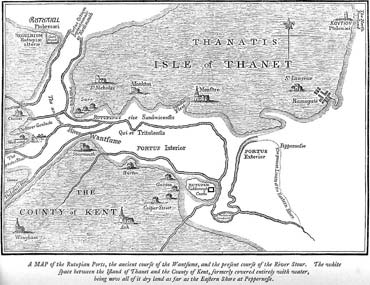 Map of the Isle of Thanet in medieval times. The channel between the isle and mainland closed off by 1500 making Thanet no longer an island.